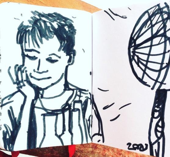 """Zazu_Freyja_Boywithfan_Inkonpaper_5x7""""_2017"""